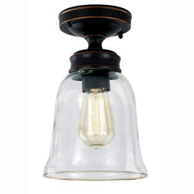 Matilda 1-Light Oil Rubbed Bronze Vintage Bulb Semi-Flush Mount with Bell Shaped Clear Glass Shade