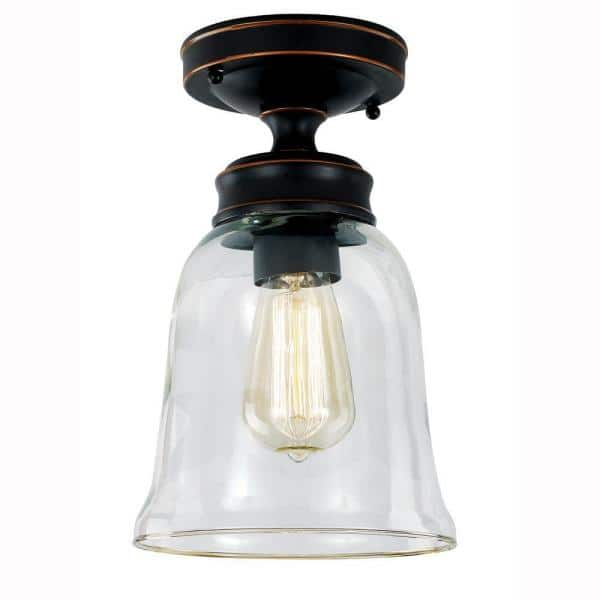 Hampton Bay Matilda 1 Light Oil Rubbed Bronze Vintage Bulb Semi Flush Mount With Bell Shaped Clear Glass Shade Sf0131106 1 6 The Home Depot