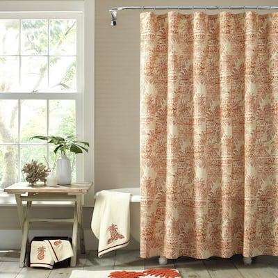 Batik Pineapple Orange Cotton 72in. X 72in. Shower Curtain