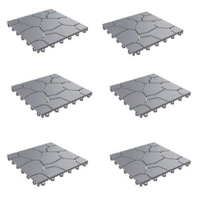 Outdoor Interlocking Stone Look Patio and Deck Tiles in Gray (Set of 12) 2.88 ft. x 3.83 L Polypropylene