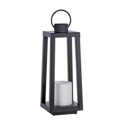16.5 in. Black Indoor/Outdoor Metal Lamp with 4 in. x 4 in. Flameless Candle