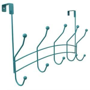 Shelby 18.75 in. Turquoise 5-Hooks 1 lb. Over The Door Hook
