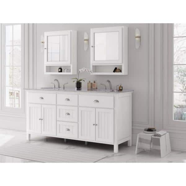 Home Decorators Collection Ridgemore 71 In W X 22 In D Vanity In White With Granite Vanity Top In Grey With White Sink Md V1768 The Home Depot