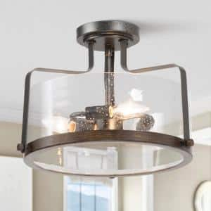 14 in. 3-Light Black Semi-Flush Mount Ceiling Light with Seeded Glass Shade