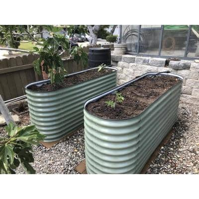 32 in. Extra-Tall 6-In-1 Modular Olive Green Metal Raised Garden Bed Kit