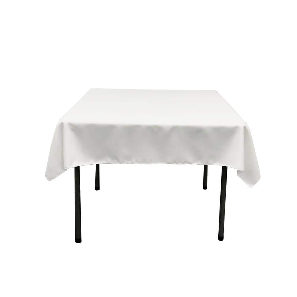 La Linen Polyester Poplin 60 In X 126 In White Rectangular Tablecloth Tcpop60x126 Whitep11 The Home Depot