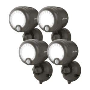 Outdoor 250 Lumen Battery Powered Motion Activated Integrated LED Security Light, Brown (4-Pack)