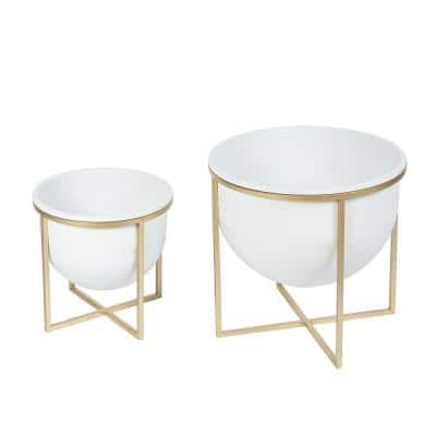 White Metal Cachepots (2-Pack)