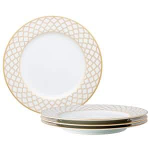 10 1/2 in. Gold White Eternal Palace Porcelain Dinner Plates (Set of 4)