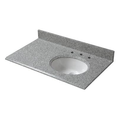 37 in. W x 22 in. D Granite Vanity Top in Napoli with White Offset Right Bowl