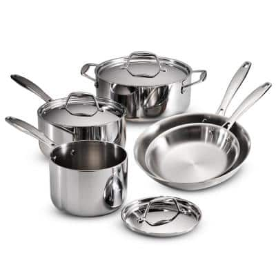 Gourmet Tri-Ply Clad 8-Piece Stainless Steel Cookware Set