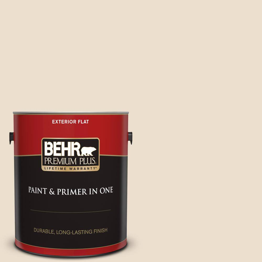 Behr Premium Plus 1 Gal Ppf 12 Sunny Gazebo Flat Exterior Paint And Primer In One 405001 The Home Depot