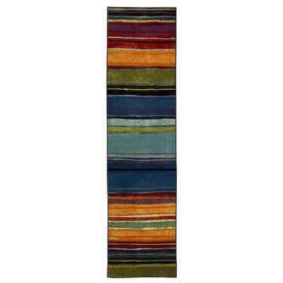Rainbow Multi 1 ft. 8 in. x 6 ft. Machine Washable Striped Runner Rug