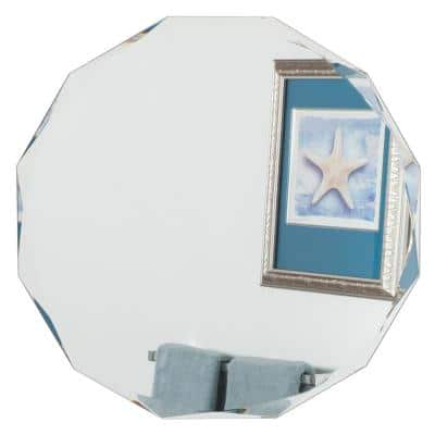 28 in. W x 28 in. H Frameless Round Beveled Edge Bathroom Vanity Mirror in Silver