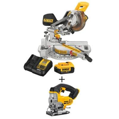 20-Volt MAX Cordless 7-1/4 in. Sliding Miter Saw with (1) 20-Volt Battery 4.0Ah & Cordless Jigsaw