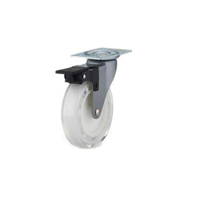 100 mm White Plate and Brake Caster