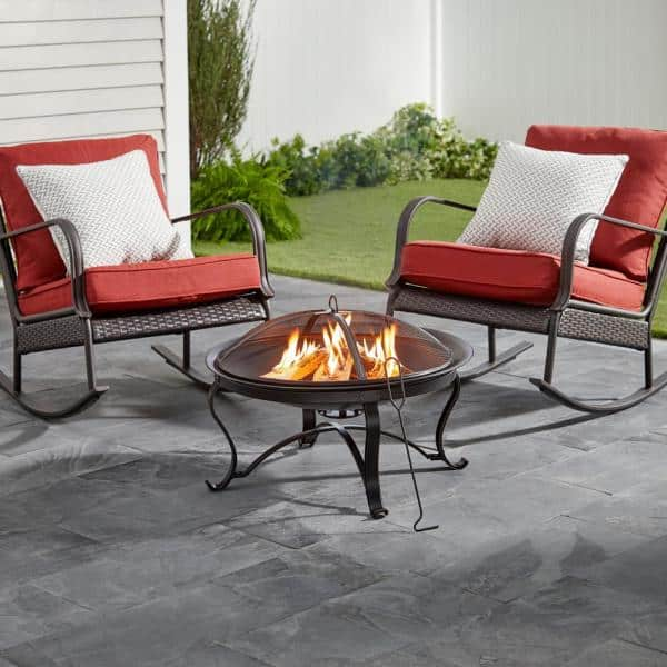 Hampton Bay Sadler 30 In X 19 In Round Steel Wood Burning Fire Pit In Rubbed Bronze Ofw284r Hd The Home Depot