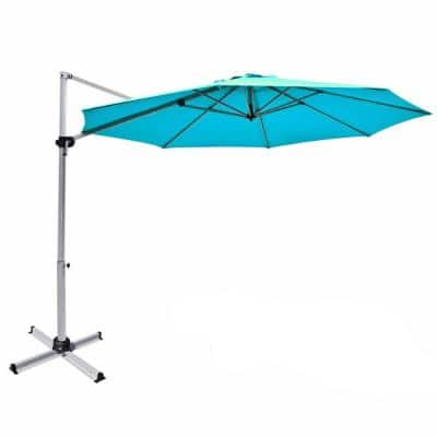 11 ft. Aluminum Cantilever Tilt Patio Umbrella in Blue with Base Stand