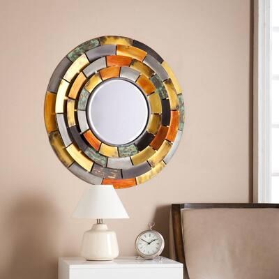 Medium Round Galvanized Metal Tones Mirror (31 in. H x 31 in. W)