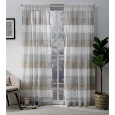Cafe Striped Rod Pocket Sheer Curtain - 54 in. W x 84 in. L (Set of 2)