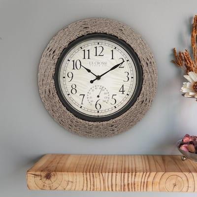 13 In. Weaver Indoor/Outdoor Rattan Analog Quartz Wall Clock