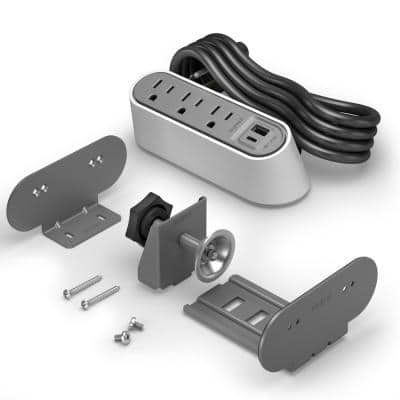 Wiremold 3-Outlet Desktop Power Strip Center Kit with USB A/C, 6 ft. Cord, White