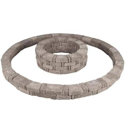 RumbleStone 106 in. x 14 in. Double Tree Ring Kit in Greystone