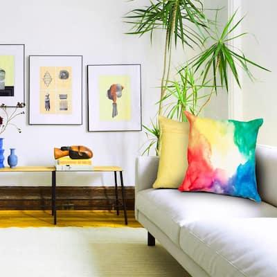 Primary Watercolor Multi Color 18 in. x 18 in. Indoor/Outdoor Throw Pillow