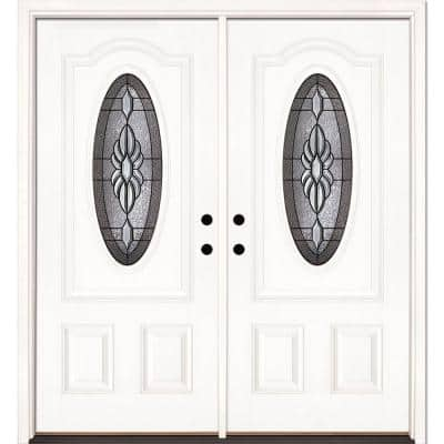 74 in. x 81.625 in. Sapphire Patina 3/4 Oval Lite Unfinished Smooth Right-Hand Fiberglass Double Prehung Front Door