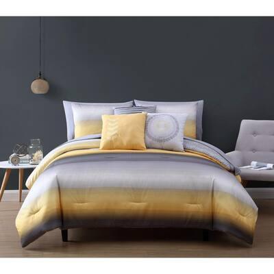 Cypress 10 Piece Yellow/Grey Queen Bed in a Bag Comforter Set