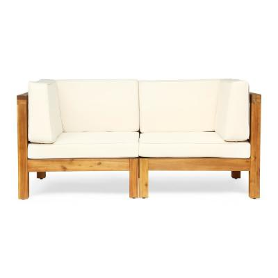 Brava Teak Brown 2-Piece Wood Outdoor Loveseat with Beige Cushions