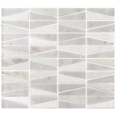 Meander White/Grey 10.625 in. x 12 in. Interlocking Honed Marble Wall and Floor Mosaic Tile (0.885 sq. ft./Each)