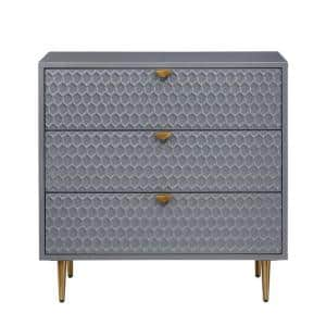 Hexagonal Pattern 3-Drawer Grey Chest of Drawers with High Gloss Finish Metal Legs