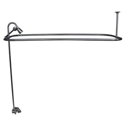 2-Handle Claw Foot Tub Faucet with Riser 54 in. Rectangular Shower Ring and Side Wall Support in Polished Chrome
