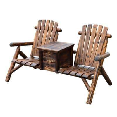 Brown Wood Double Adirondack Chair for 2 People with Insert Ice Bucket