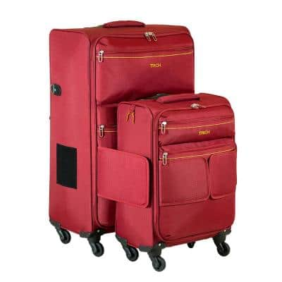 2-Piece Connectable Luggage in Red
