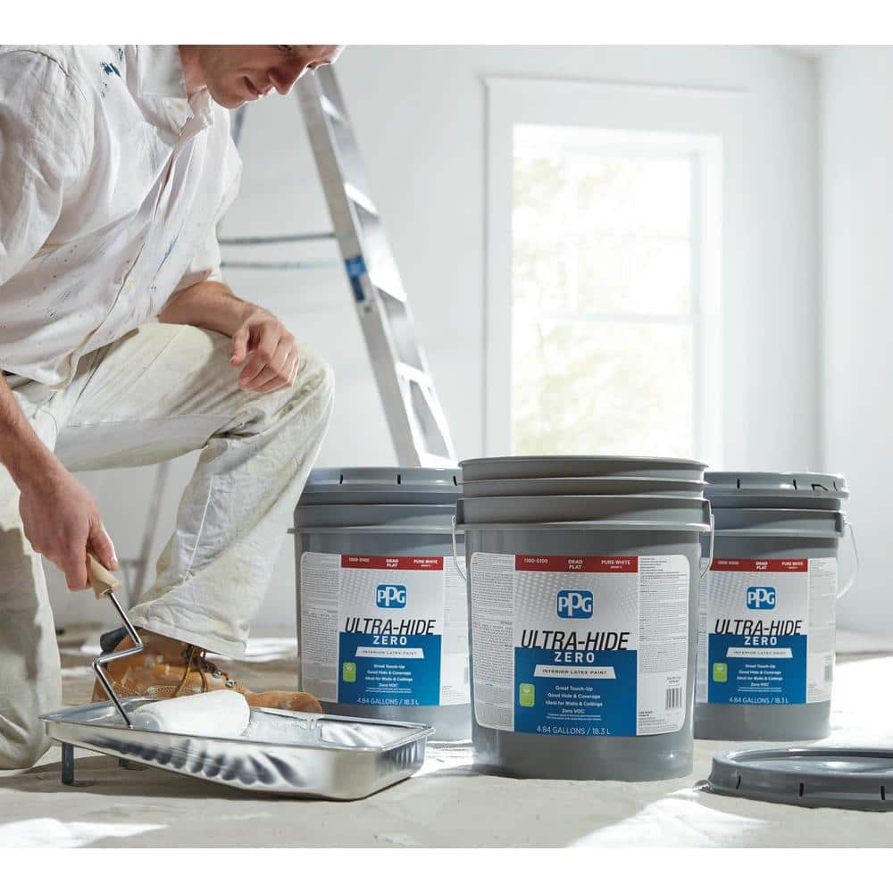 Ppg Ultra Hide Zero 5 Gal Pure White Base 1 Dead Flat Interior Paint 1300 0100 05 The Home Depot