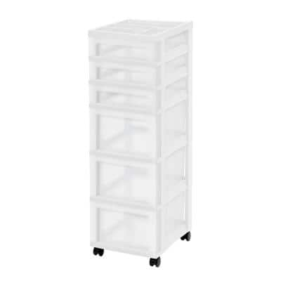 14.25 in. L x 12.05 in. W x 37.75 in. H White and Pearl 6-Drawer Storage Cart with Organizer Top