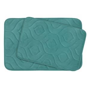 Naoli Marine Blue 20 in. x 34 in. Memory Foam 2-Piece Bath Mat Set