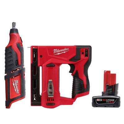 M12 12-Volt Lithium-Ion Cordless Rotary Tool with M12 3/8 in. Crown Stapler and 6.0 Ah XC Battery Pack