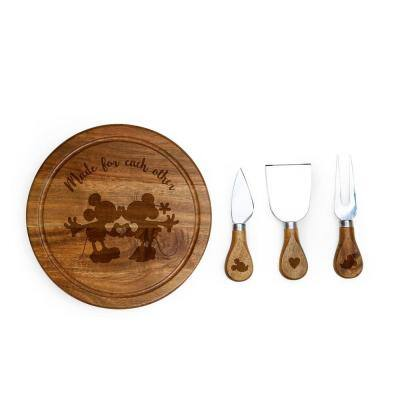 7.5 in. Mickey and Minnie Mouse Acacia Brie Cheese Board and Tools Set
