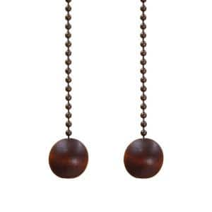 12 in. Walnut and Antique Brass Wood Ball Pull Chains for Ceiling Fans and Lights (2-Pack)