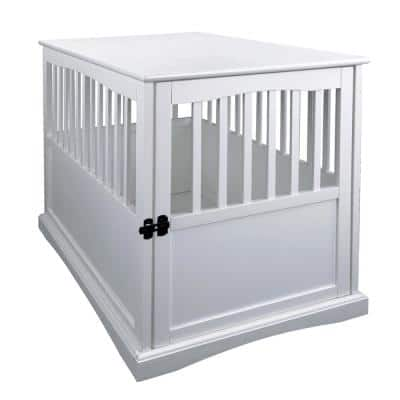 White Pet Crate End Table with Gate - Large