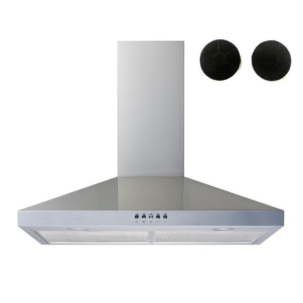 Winflo 30 In Convertible Wall Mount Range Hood In Stainless Steel With Mesh Filters Charcoal Filters And Push Button Control Wr003c30f The Home Depot