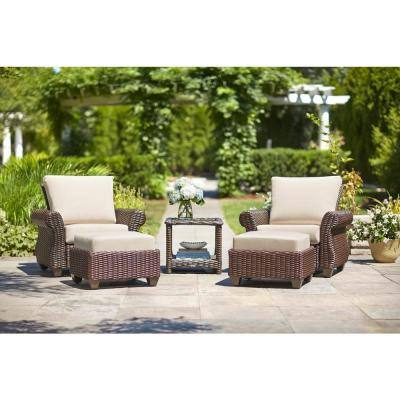 Mill Valley Fully Woven Outdoor Patio Ottoman with Parchment Cushion