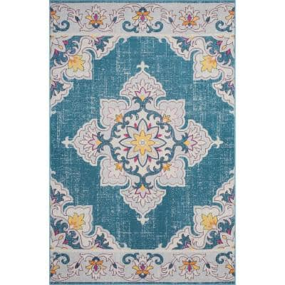Antiquity Blue/Gray 5 ft. 3 in. x 7 ft. 10 in. Boho Medallion Woven Polypropylene Indoor/Outdoor Area Rug
