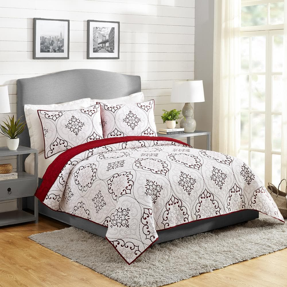 Modern Heirloom Chambers 3 Piece Red King Cotton Quilt Set A069019rdnfs The Home Depot