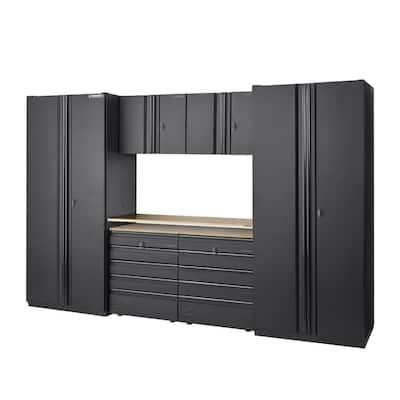 128 in. W x 81 in. H x 24 in. D Heavy Duty Welded Steel Garage Storage System in Black ( 7 Piece )
