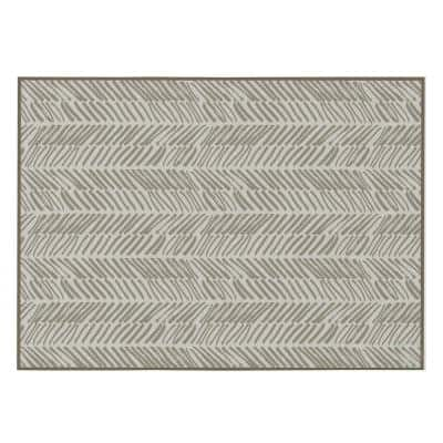 Modern Living Room with Nonslip Backing, Abstract Beige Chevron Strokes Pattern, 4 ft. x 6 ft. Small Area Rug