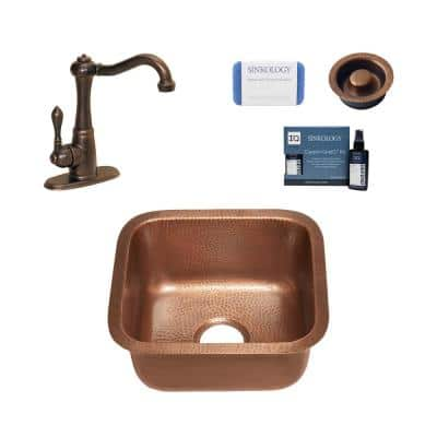 Sisley 18 Gauge Copper 17 in. Undermount Bar Sink with Pfister Faucet and Drain